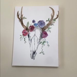 Canvas with skull and flowers